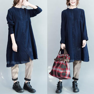 Navy pleated plus size cotton dress fall maternity dresses oversize womens blouse shirts