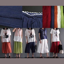 Load image into Gallery viewer, Navy plus size cotton pants crop trousers wide leg skirt