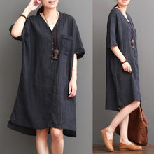 Load image into Gallery viewer, Navy plus size dress summer cotton dresses