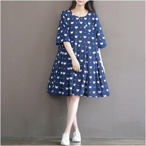 Navy plus size fox print sundress cotton summer dresses linen dress oversize