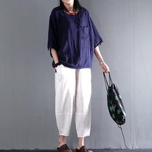 Load image into Gallery viewer, Navy pocket short women linen shirt cotton summer top short blouse