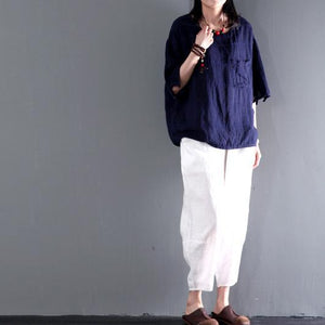 Navy pocket short women linen shirt cotton summer top short blouse