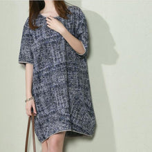Load image into Gallery viewer, Navy print baggy holiday sundress linen summer dresses oversize