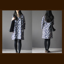 Load image into Gallery viewer, Navy print cotton spring dress three-quater sleeves caftan dresses
