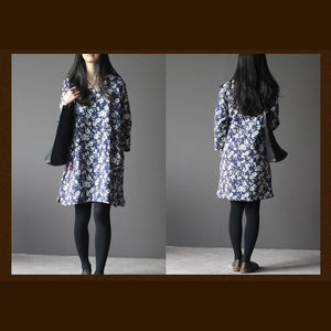 Navy print cotton spring dress three-quater sleeves caftan dresses