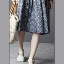 Load image into Gallery viewer, Navy print cotton summer dress fit flare sundress holiday dress