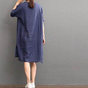 Navy print linen sundress plus size cusal dresses summer linen dress