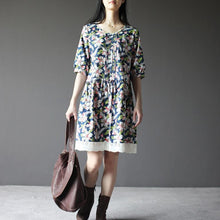 Laden Sie das Bild in den Galerie-Viewer, Navy retro cotton shift dress sundress summer print cotton dresses lace hem