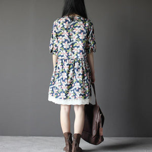 Navy retro cotton shift dress sundress summer print cotton dresses lace hem