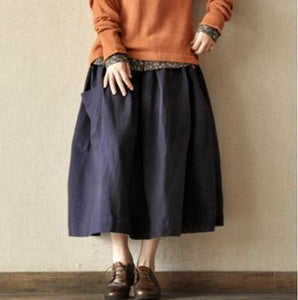 Navy retro linen skirts big pockets casual maxi skirts
