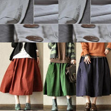 Laden Sie das Bild in den Galerie-Viewer, Navy retro linen skirts big pockets casual maxi skirts