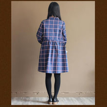 Load image into Gallery viewer, Navy retro plaid casual dress summer cotton dresses plus size sundresses