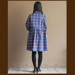 Navy retro plaid casual dress summer cotton dresses plus size sundresses