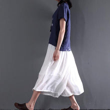 Load image into Gallery viewer, Navy short sleeve linen summer shirt women blouse oversize casual top