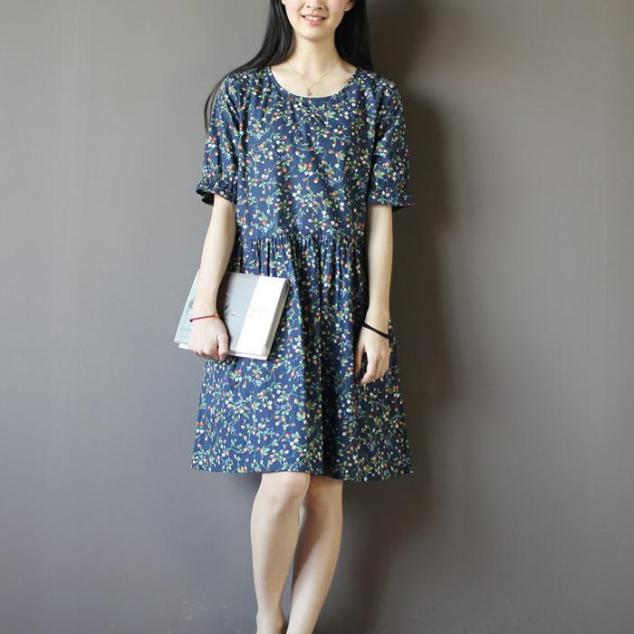 Navy strawberry print sundress cotton summer dresses fit flare dress