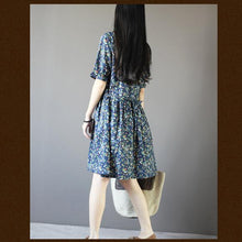 Load image into Gallery viewer, Navy strawberry print sundress cotton summer dresses fit flare dress