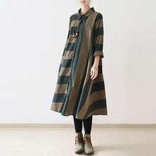Laden Sie das Bild in den Galerie-Viewer, Navy strip linen dress loose spring dresses fall caftans