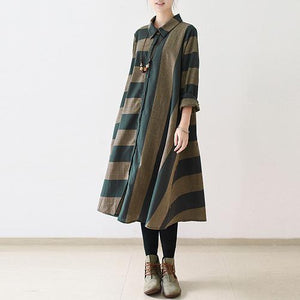 Navy strip linen dress loose spring dresses fall caftans