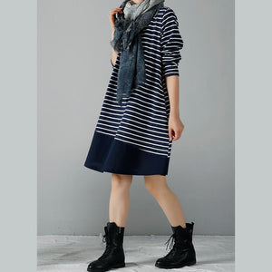 Navy striped cotton dresses plus size winter dress
