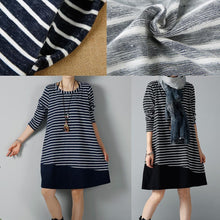 Laden Sie das Bild in den Galerie-Viewer, Navy striped cotton dresses plus size winter dress