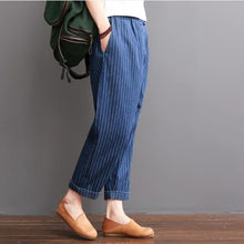Load image into Gallery viewer, Navy striped summer crop pants cotton trousers elastc wiast