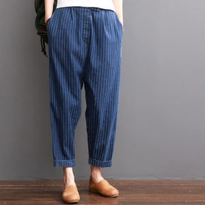Navy striped summer crop pants cotton trousers elastc wiast