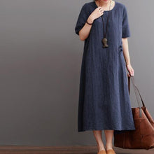 Load image into Gallery viewer, Navy summer linen dress plus size linen maxi dresses sundress