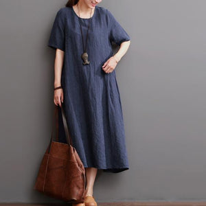 Navy summer linen dress plus size linen maxi dresses sundress