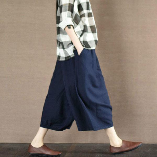 Navy summer linen skirts white leg pants cotton skirts