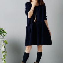 Load image into Gallery viewer, Navy sweet winter dress long sleeve shift dresses