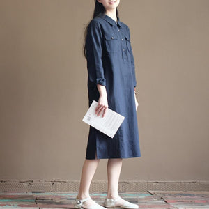 Navy vintage linen dress summer plus size shirt dress sundresses