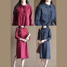 Load image into Gallery viewer, Navy vintage linen dress summer plus size shirt dress sundresses