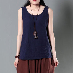 Navy women wrinkled linen tank top stylish causal blouse