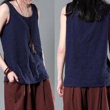 Load image into Gallery viewer, Navy women wrinkled linen tank top stylish causal blouse