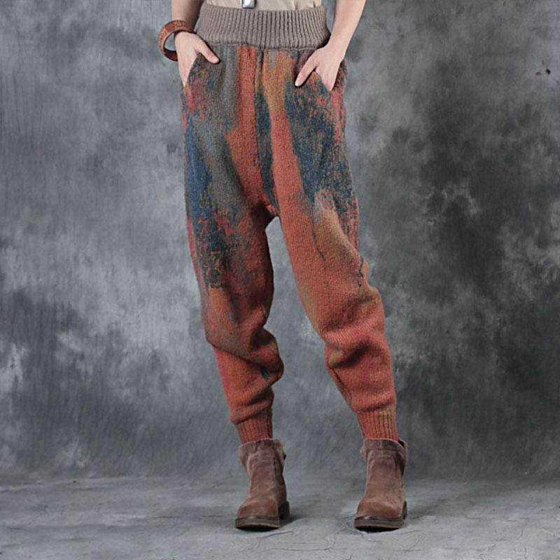 New  cotton  plus size prints warm winter woolen casual pants women vintage elastic waist trousers