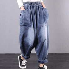 Load image into Gallery viewer, New Korean style art blue jeans harem pants
