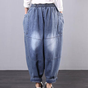 New Korean style art blue jeans harem pants