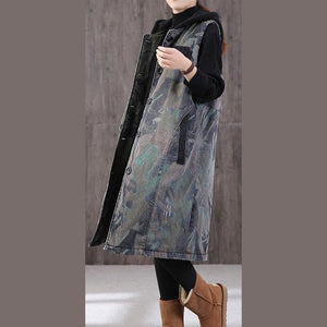 New Loose fitting winter coats gray print hooded pockets winter sleeveless parkas