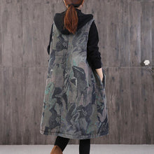 Load image into Gallery viewer, New Loose fitting winter coats gray print hooded pockets winter sleeveless parkas