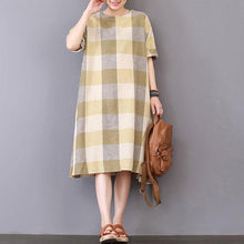 Load image into Gallery viewer, New Midi-length cotton dress trendy plus size Lattice Loose Short Sleeve Cotton Casual Dress