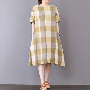 New Midi-length cotton dress trendy plus size Lattice Loose Short Sleeve Cotton Casual Dress