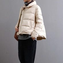 Load image into Gallery viewer, New beige down jacket woman plus size zippered drawstring women parka pockets coats