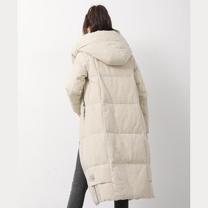 New beige white down jacket woman Loose fitting hooded snow jackets side open Jackets
