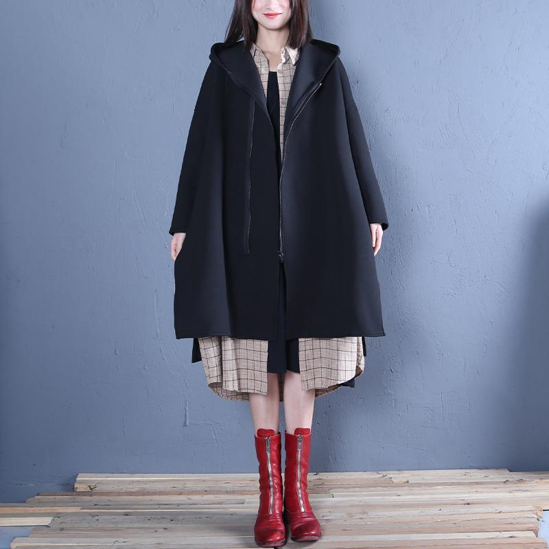 New black Coat Women oversized medium length coat fall coats hooded