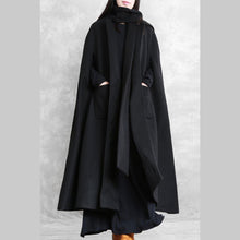 Load image into Gallery viewer, New black Woolen Coats Loose fitting long coat winter jackets Multiple wearing methods
