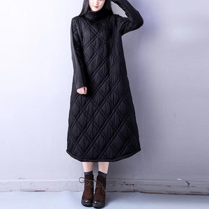 New black casual high neck dress New pockets thick longYZ-2018111421