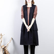 Load image into Gallery viewer, New black cotton Coat plussize side open cardigans New sleeveless coats