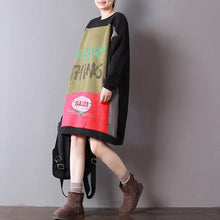 Load image into Gallery viewer, New black cotton Loose fitting o neck midi dress patchwork spring dress