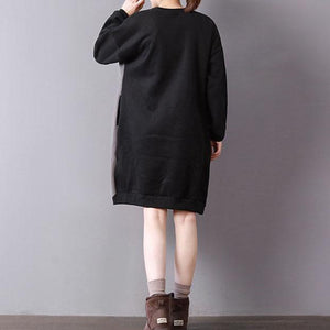 New black cotton Loose fitting o neck midi dress patchwork spring dress