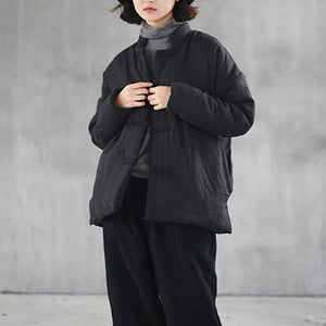 New black cotton parkas warm winter jacket oversized stand collar coat women side open short coat